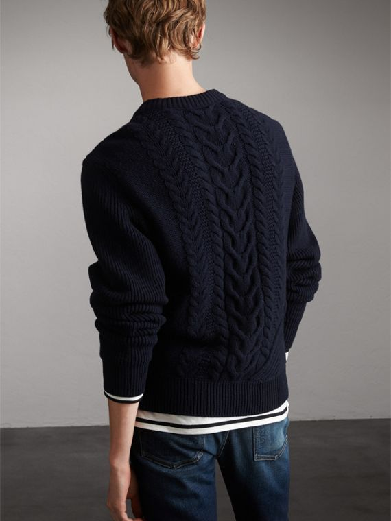 Cashmere Sweater with Cable Knit Detail - Men | Burberry - cell image 2
