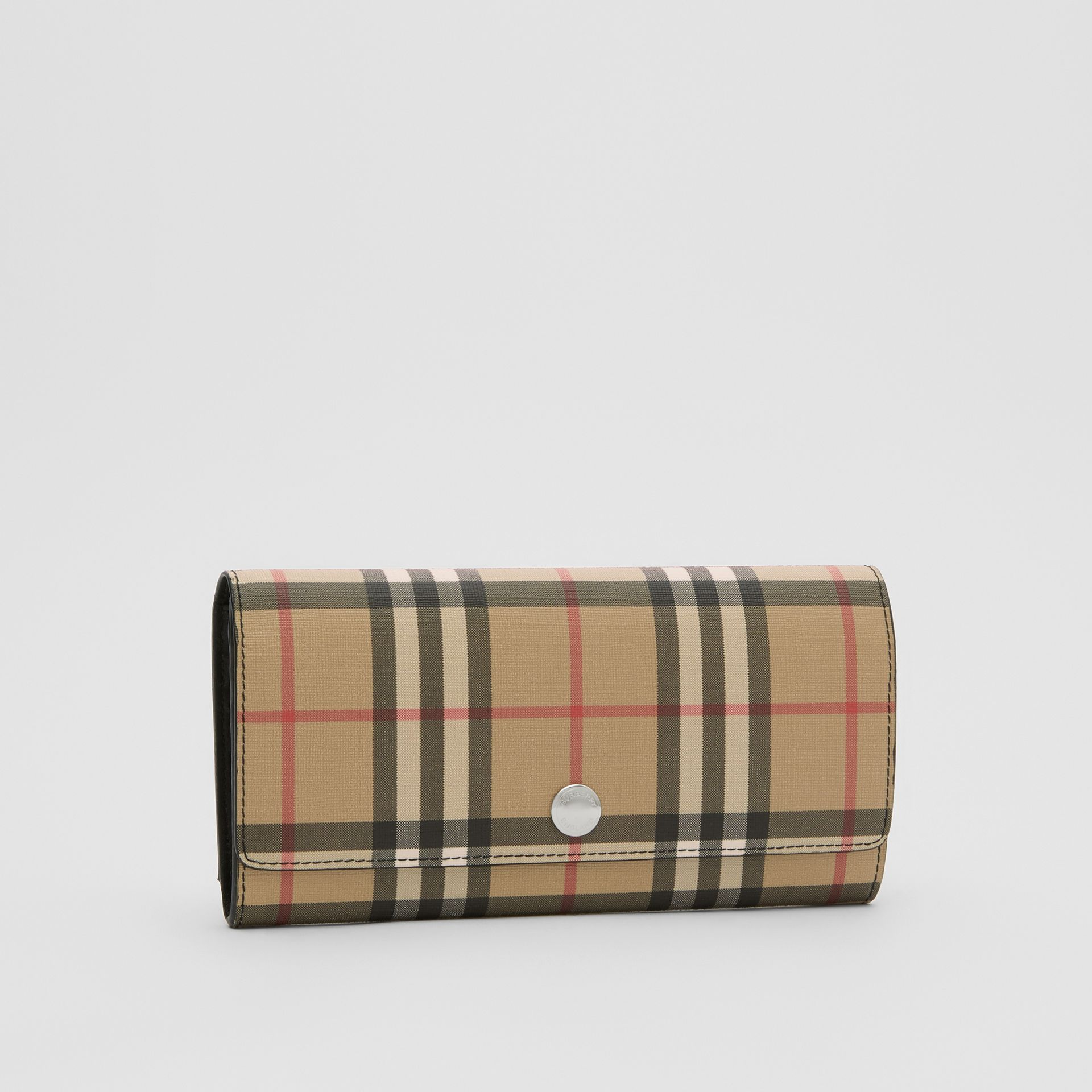 Vintage Check E-canvas Continental Wallet in Black - Women | Burberry Australia - gallery image 3