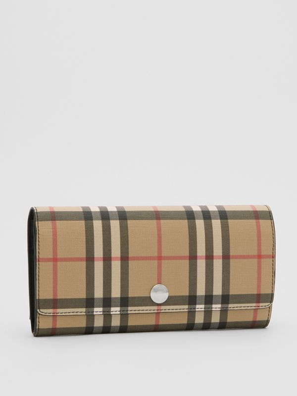 Vintage Check E-canvas Continental Wallet in Black - Women | Burberry Australia - cell image 3