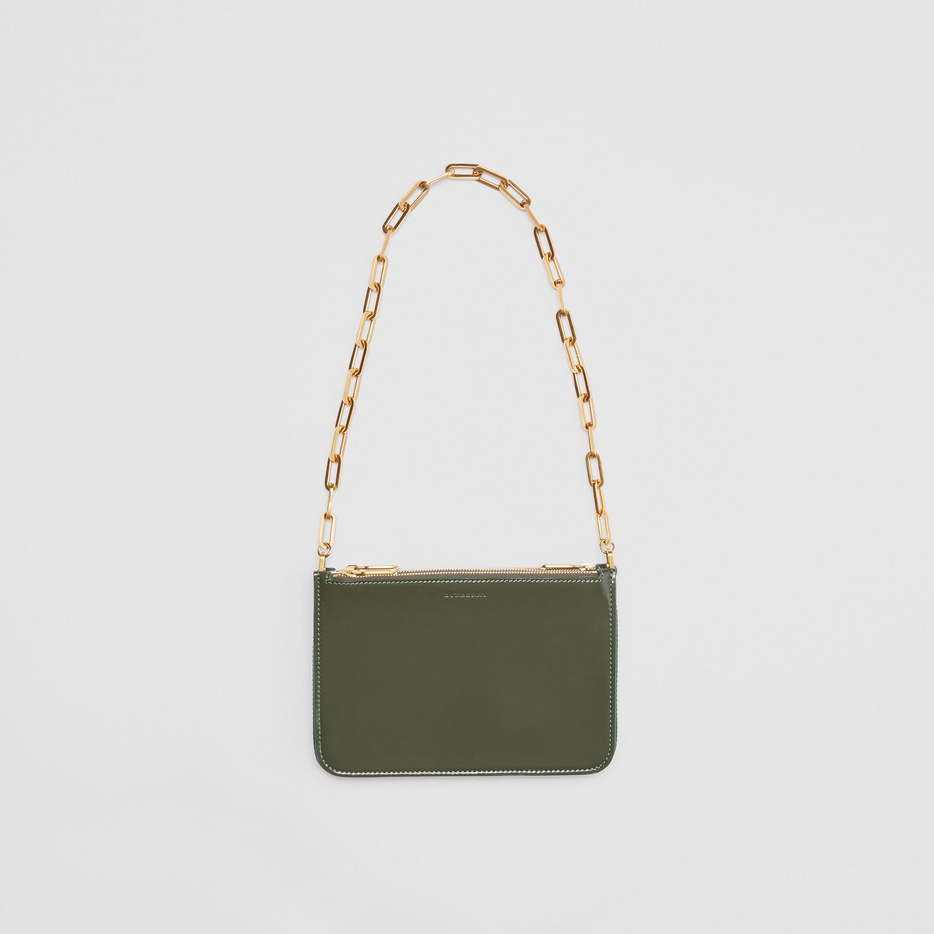 Triple Zip Patent Leather Crossbody Bag in Dark Forest Green - Women | Burberry United States - gallery image 2