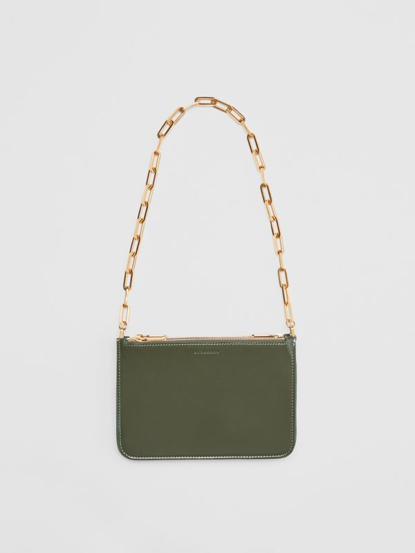 Triple Zip Patent Leather Crossbody Bag in Dark Forest Green - Women | Burberry United States - cell image 2