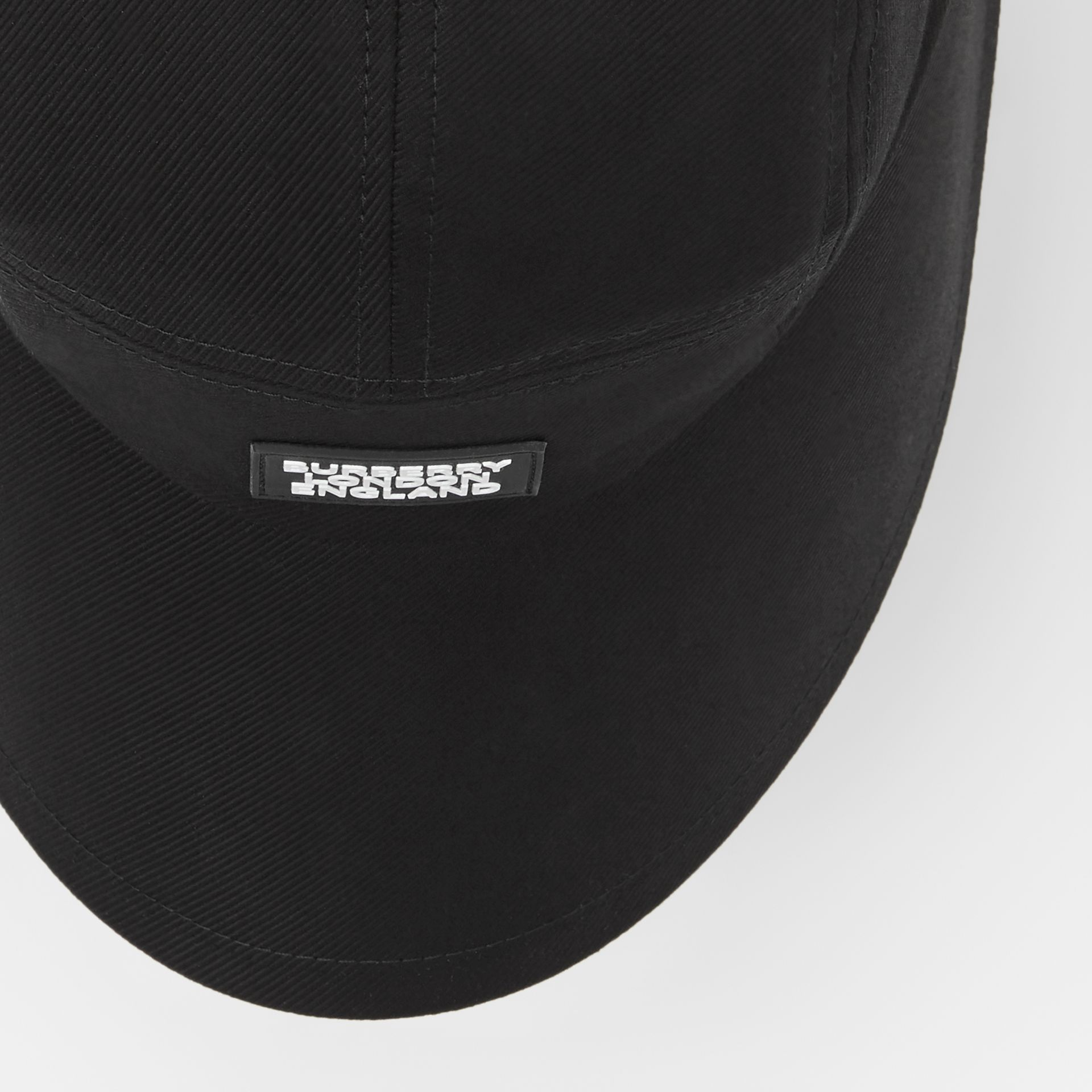 Logo Appliqué Cotton Twill Bonnet Cap in Black | Burberry United Kingdom - gallery image 8
