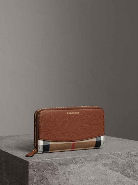 House Check and Leather Ziparound Wallet in Brown Ochre