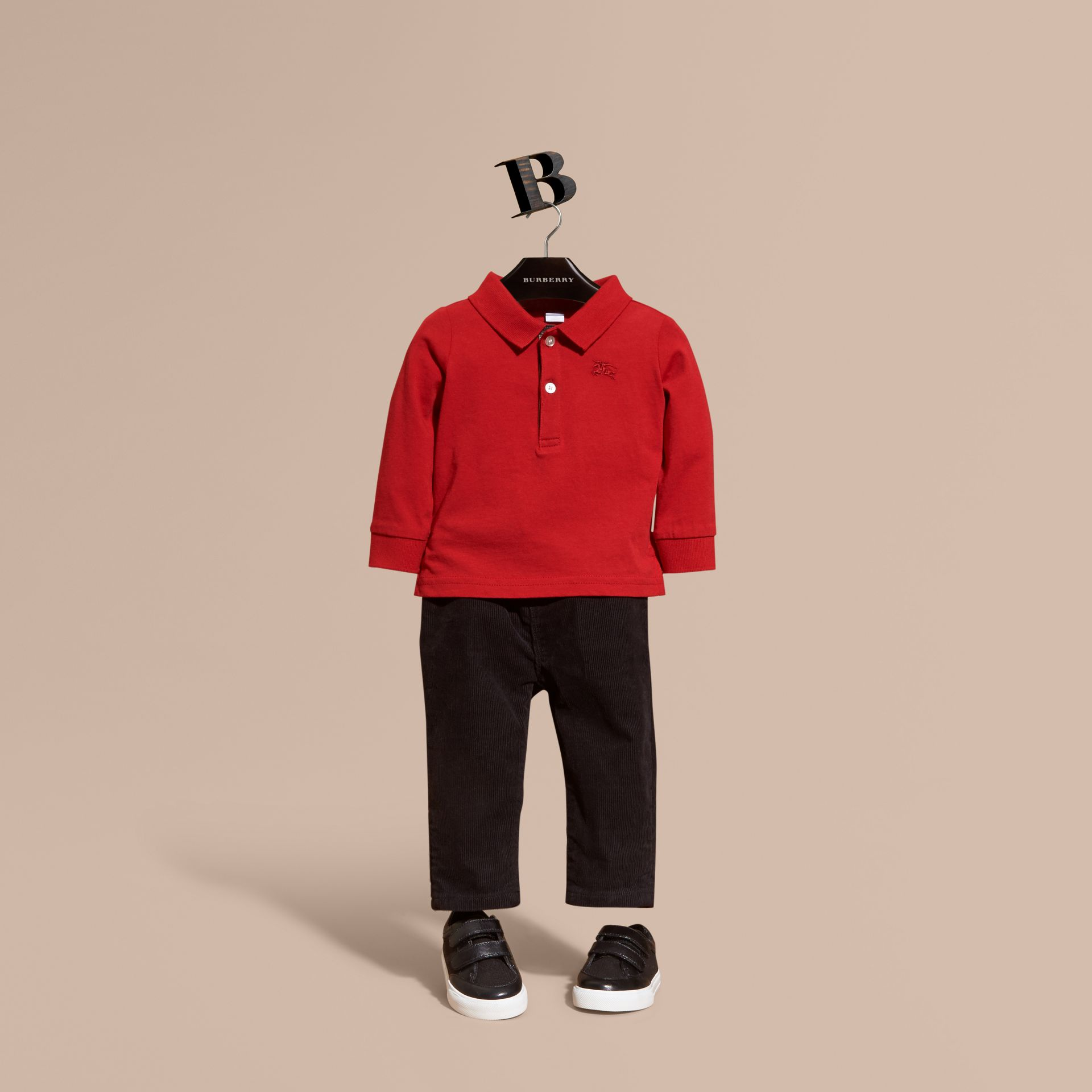 Check Trim Long-sleeved Cotton Polo Shirt in Military Red | Burberry United States - gallery image 1