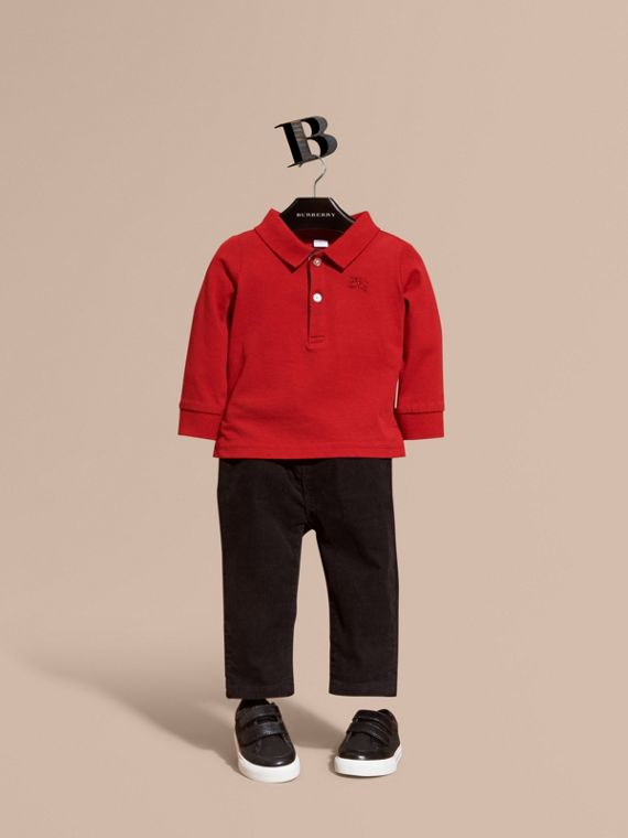 Check Trim Long-sleeved Cotton Polo Shirt in Military Red | Burberry Canada