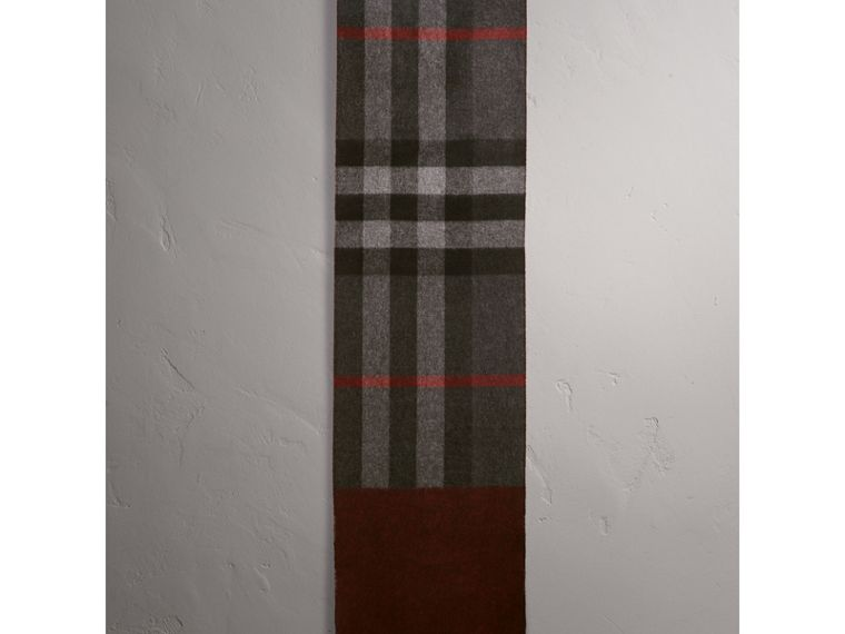Reversible Check and Melange Cashmere Scarf in Charcoal | Burberry - cell image 1
