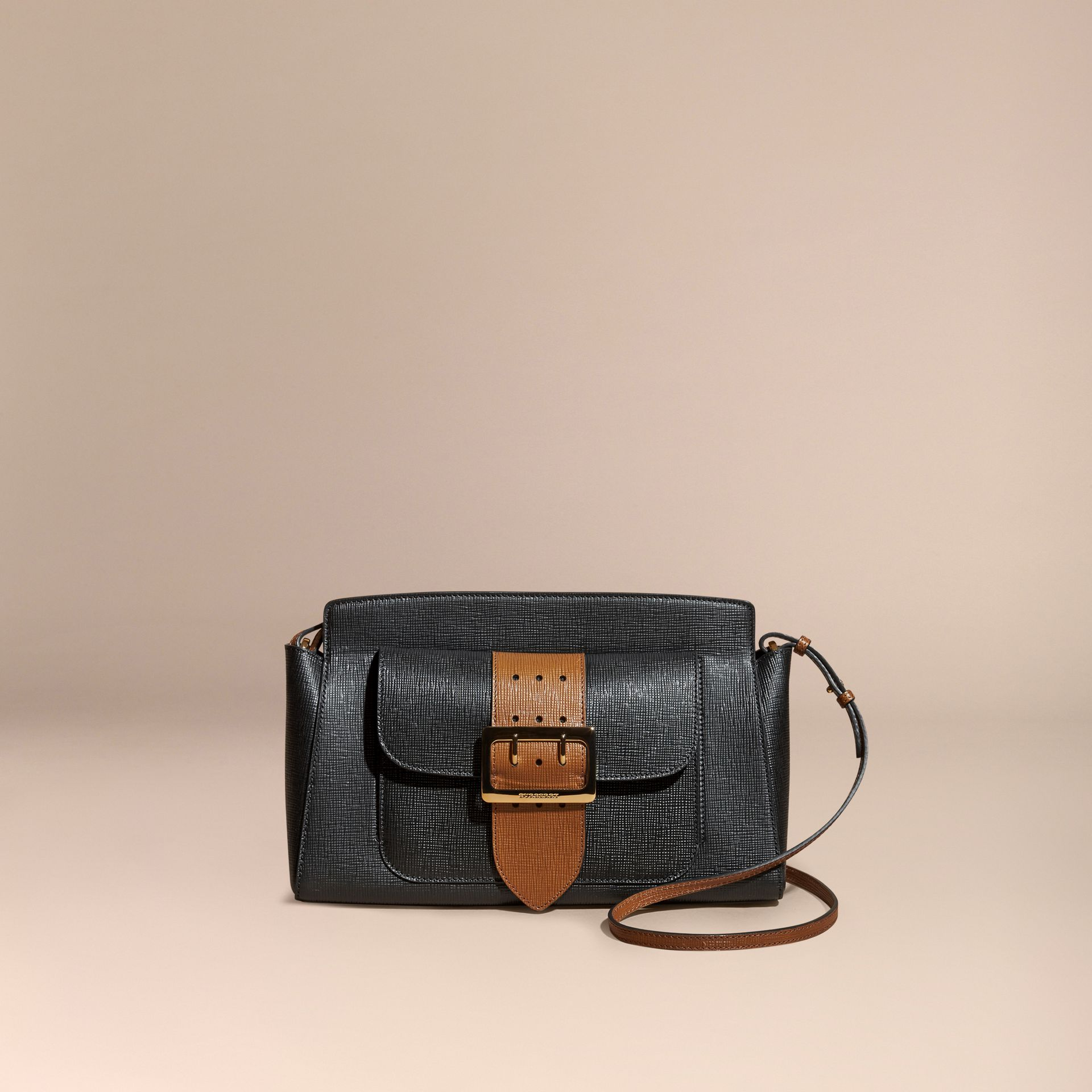 Black The Saddle Clutch in Textured Bonded Leather - gallery image 9