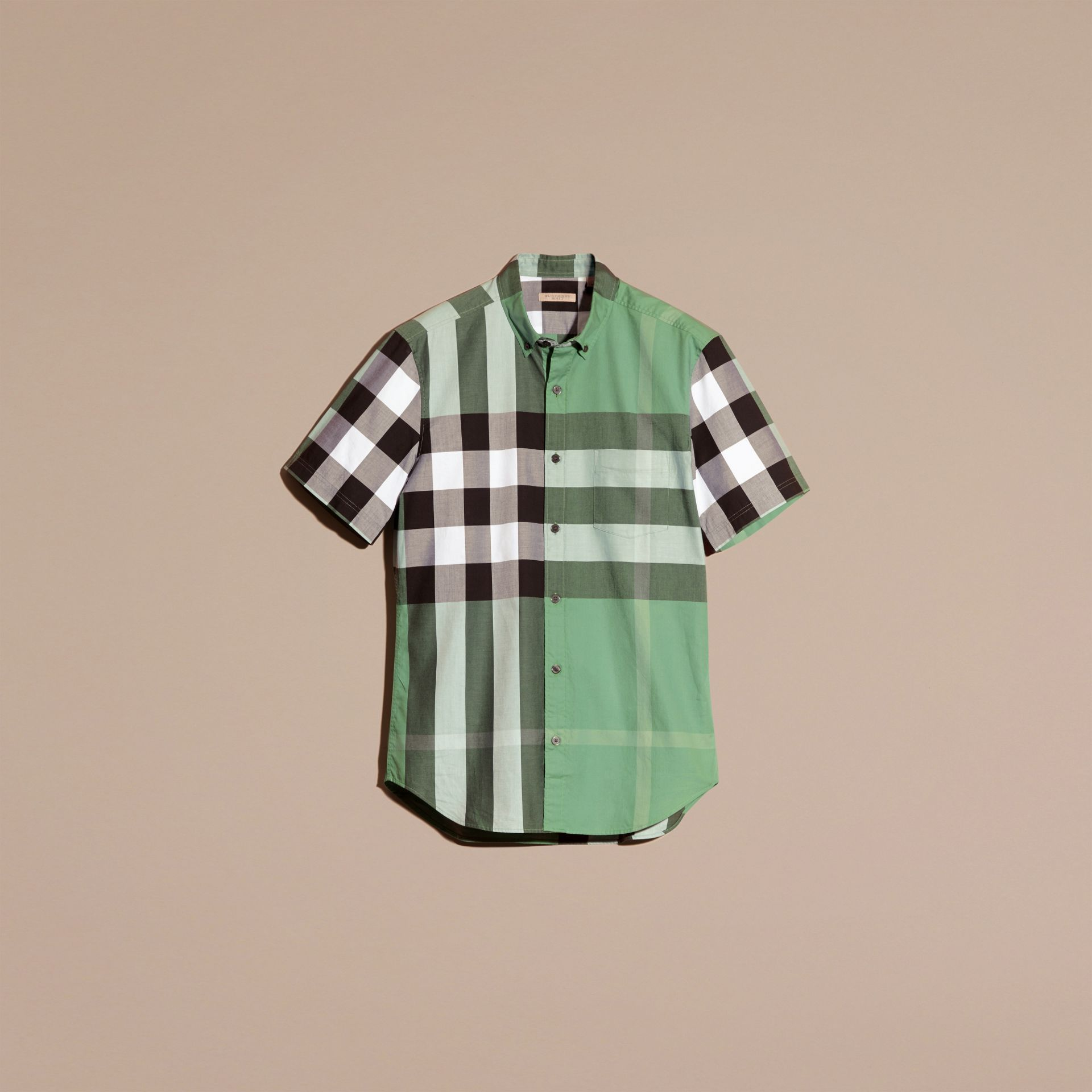 Aqua green Short-sleeved Check Cotton Shirt Aqua Green - gallery image 4