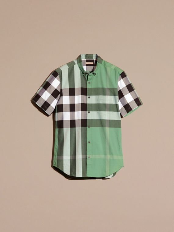 Aqua green Short-sleeved Check Cotton Shirt Aqua Green - cell image 3