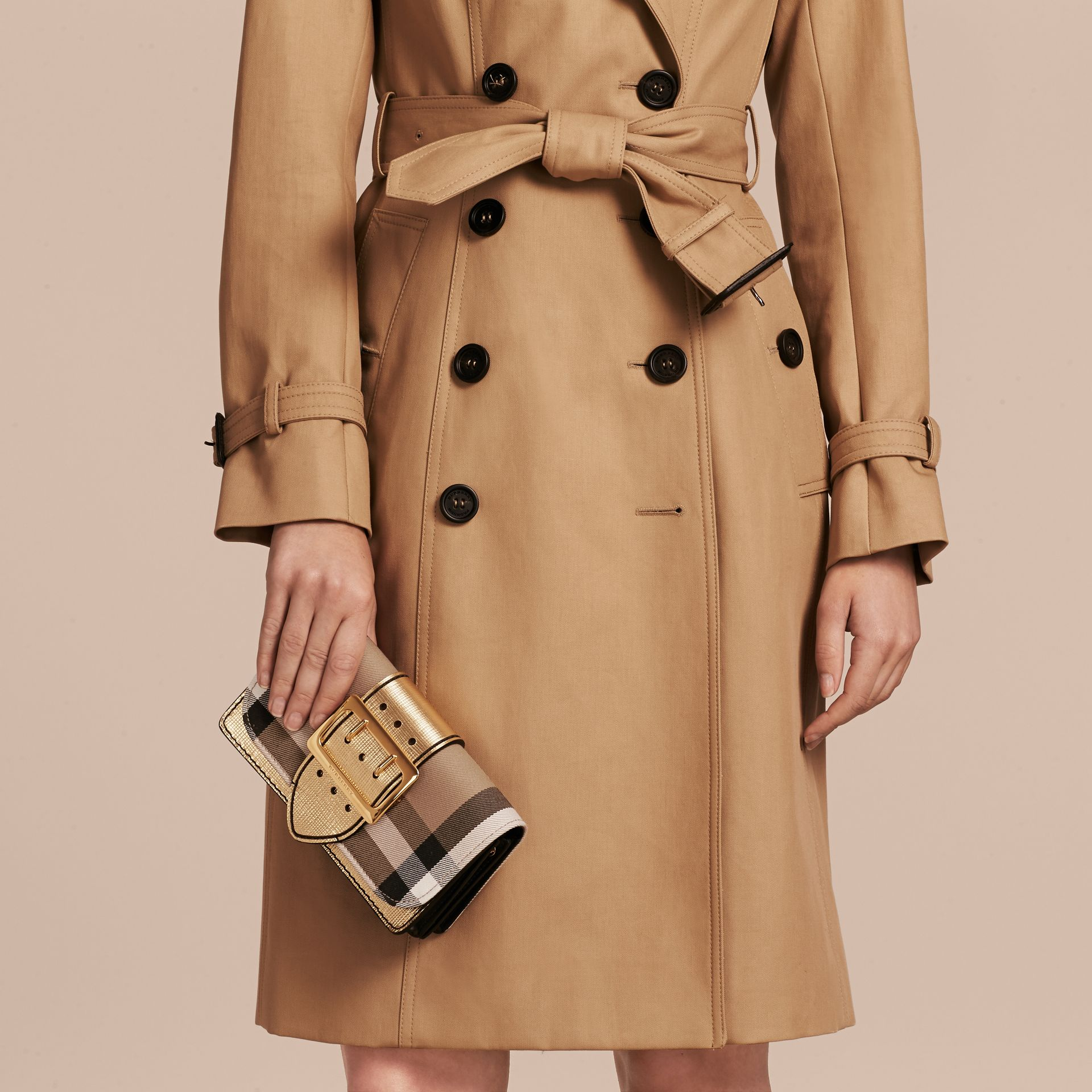 The Small Buckle Bag in House Check and Leather in Gold - Women | Burberry United Kingdom - gallery image 3