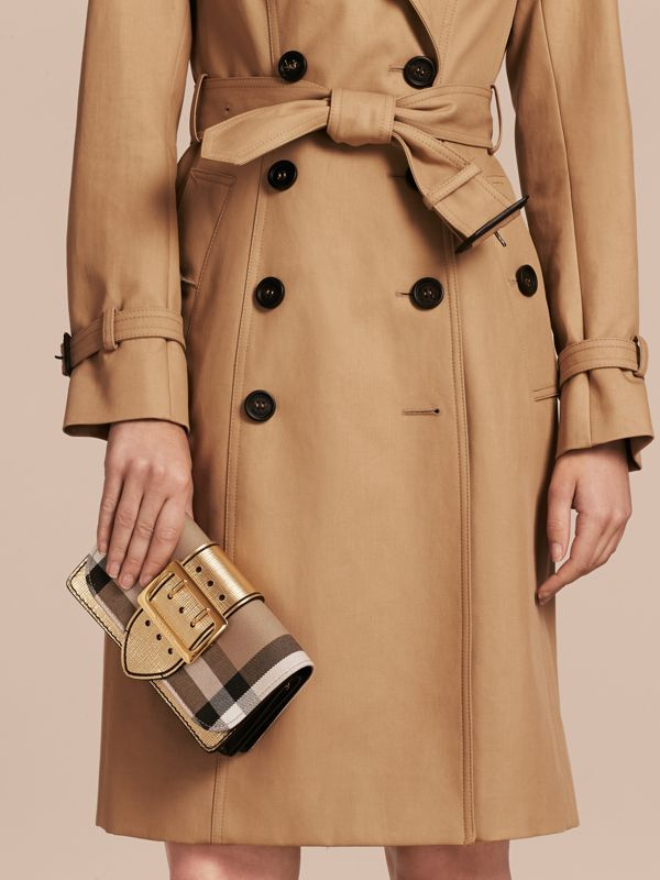 The Small Buckle Bag in House Check and Leather in Gold - Women | Burberry - cell image 3