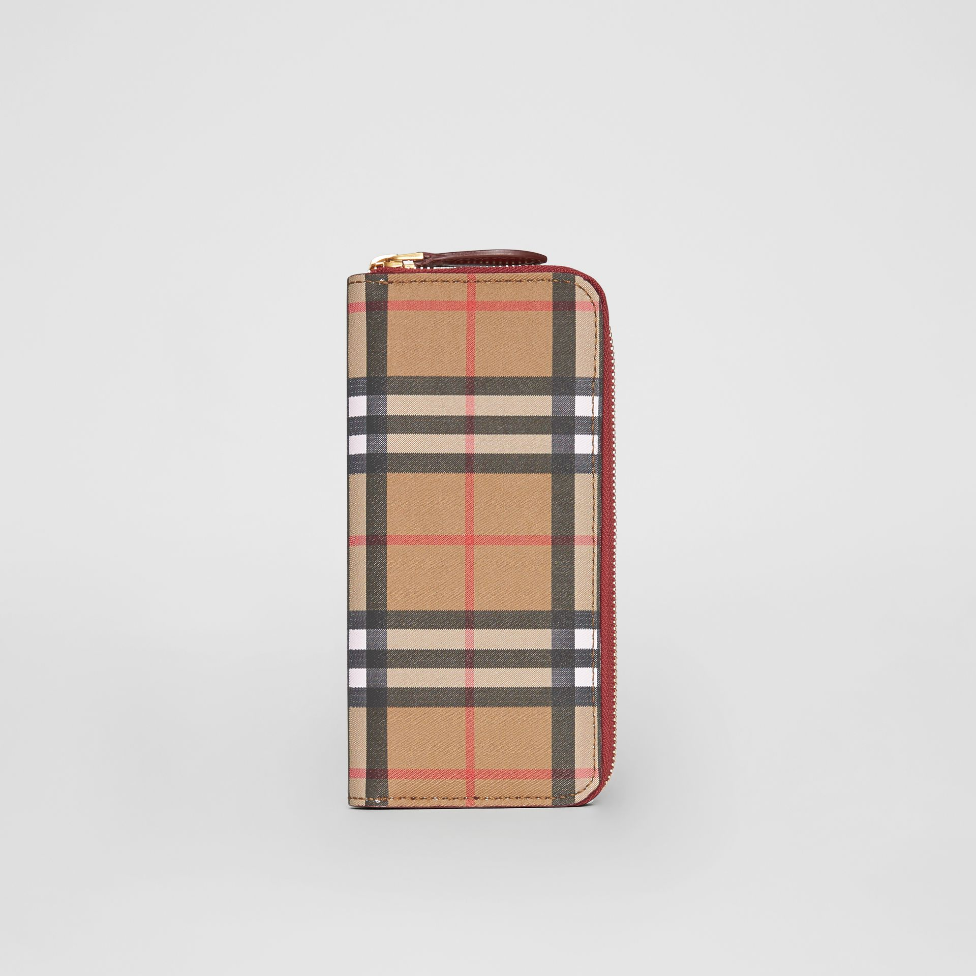 Vintage Check and Leather Ziparound Wallet in Crimson - Women | Burberry - gallery image 3