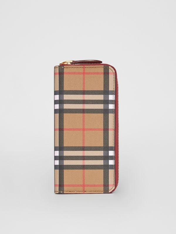 Vintage Check and Leather Ziparound Wallet in Crimson - Women | Burberry - cell image 3
