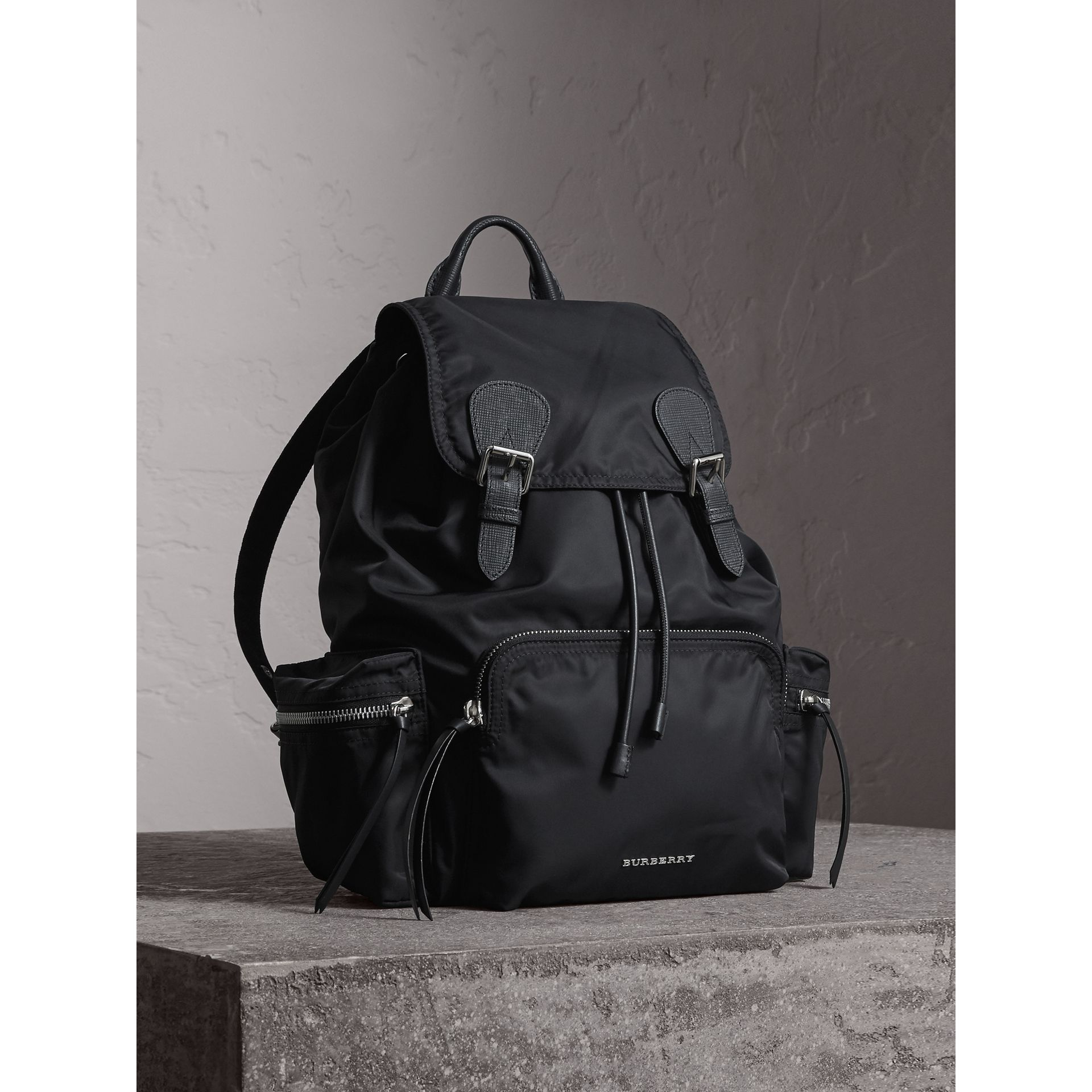 The Large Rucksack in Technical Nylon and Leather in Black/black - Women | Burberry - gallery image 0