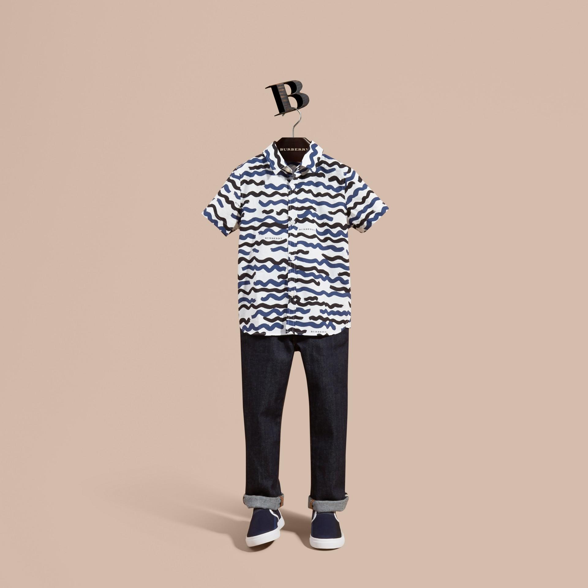 Short-sleeve Waves Print Cotton Shirt - gallery image 1