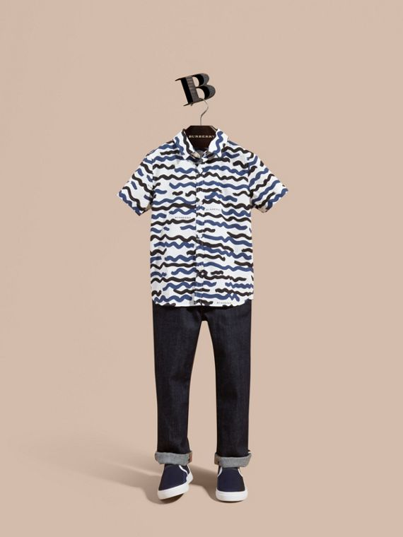 Short-sleeve Waves Print Cotton Shirt