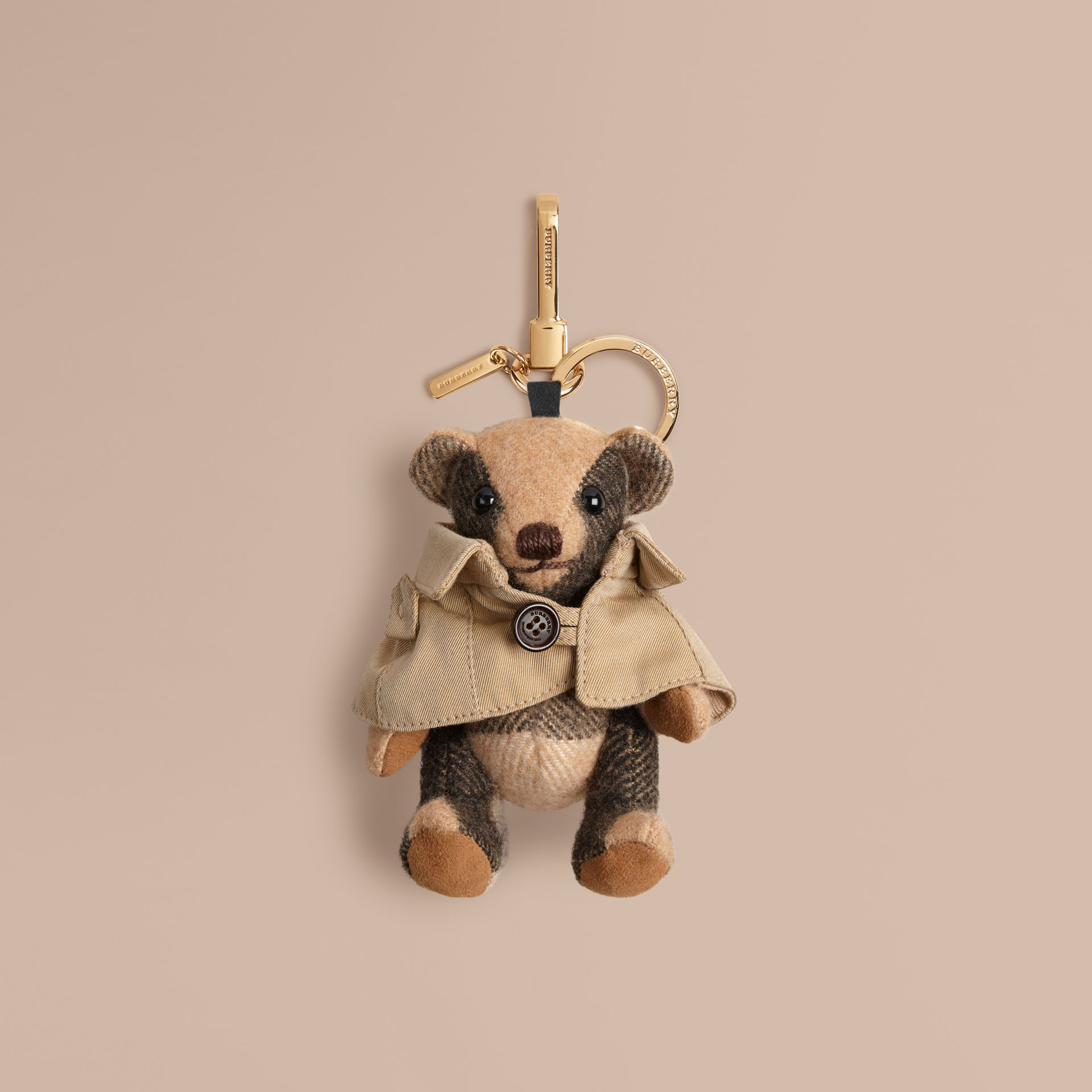 Camel Mr Trench Thomas Bear Charm in Check Cashmere - gallery image 1