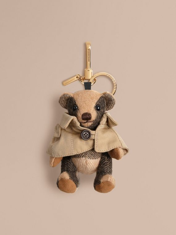 Mr Trench Thomas Bear Charm in Check Cashmere in Camel