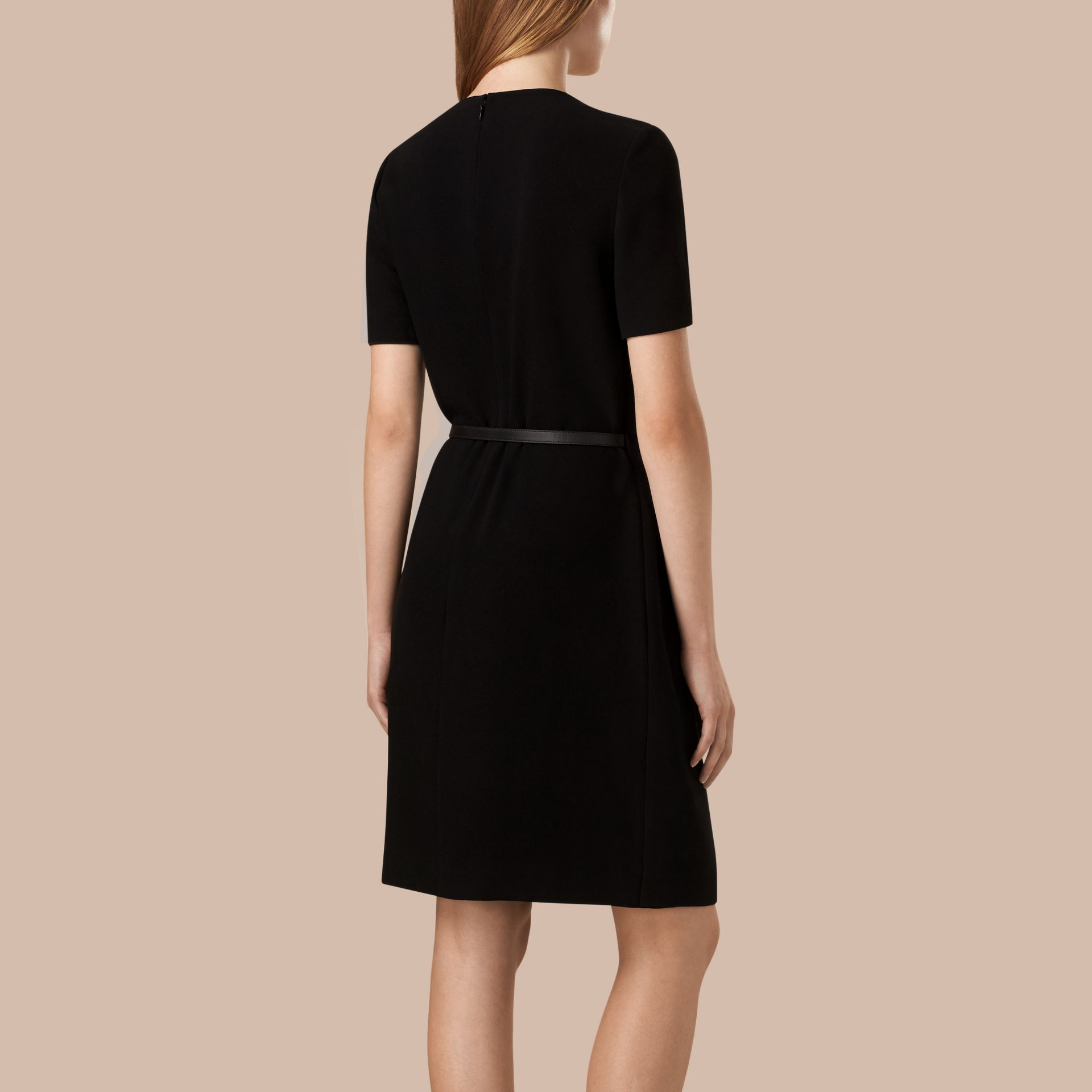 Black Satin-Back Crepe Pleat Detail Dress - gallery image 2