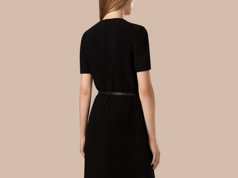 Black Satin-Back Crepe Pleat Detail Dress - cell image 1