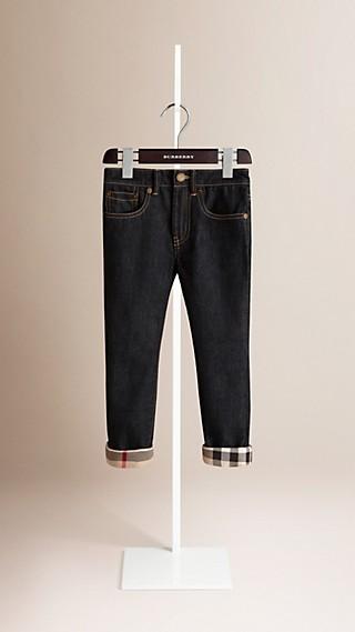 Indigofarbene Jeans Mit Check-Abschlüssen
