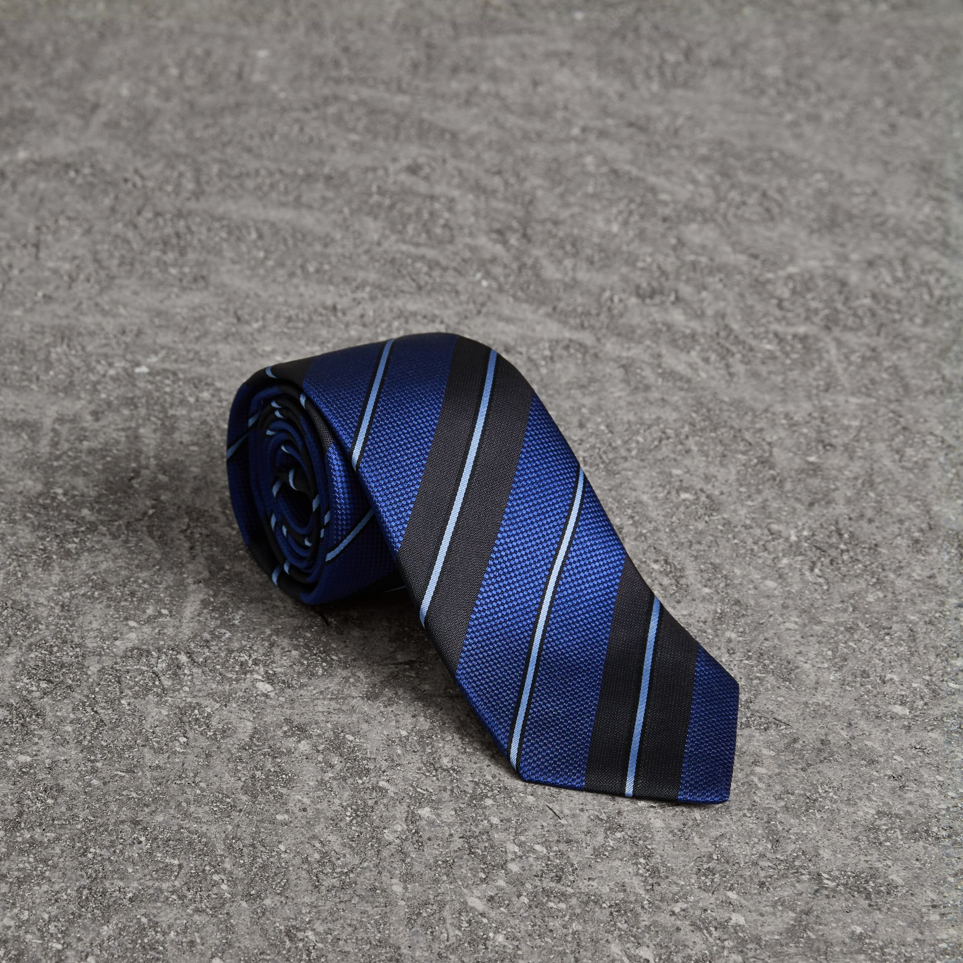 Modern Cut Striped Silk Tie in Navy - Men | Burberry - gallery image 0