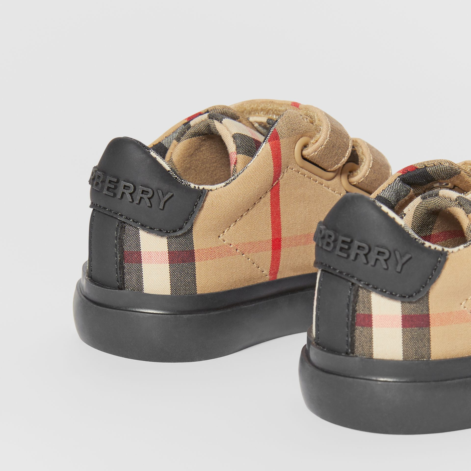 Vintage Check Cotton Sneakers in Archive Beige/black - Children | Burberry United Kingdom - gallery image 1