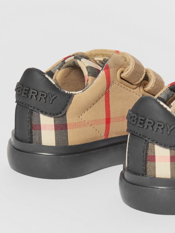 Vintage Check Cotton Sneakers in Archive Beige/black - Children | Burberry - cell image 1