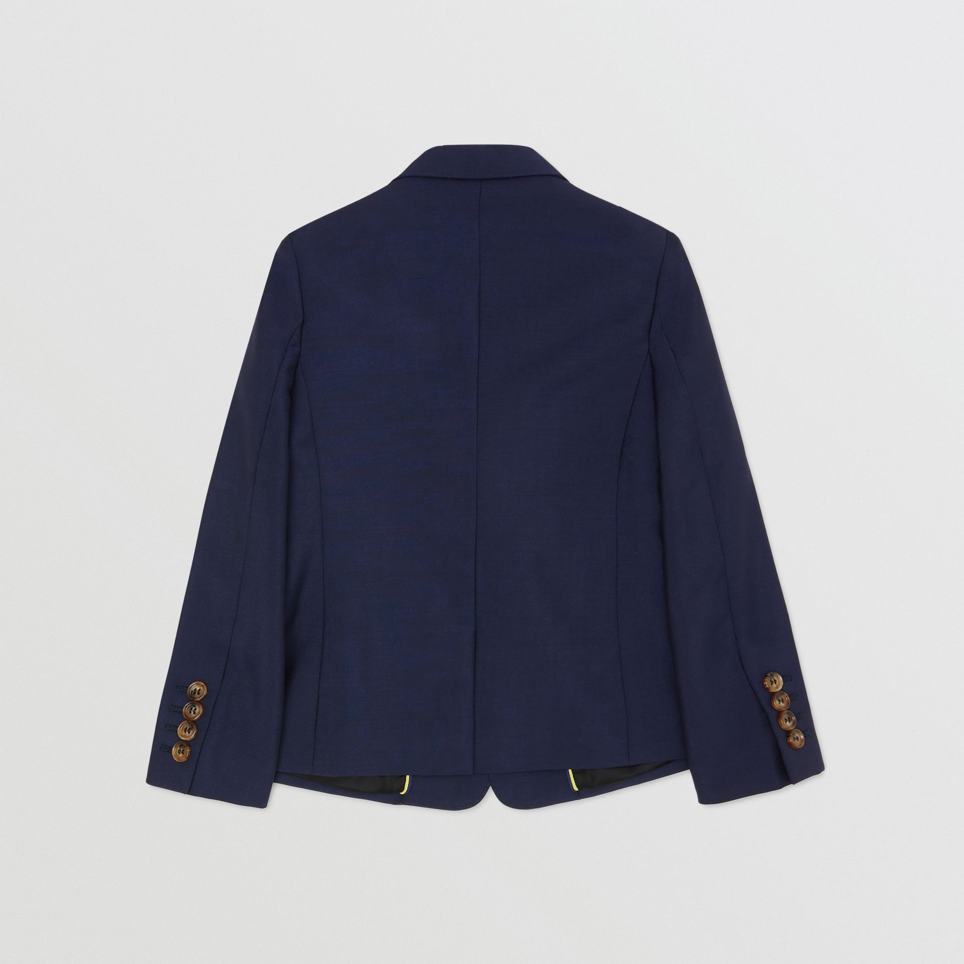 Logo Print Wool Mohair Blazer in Navy | Burberry - gallery image 3