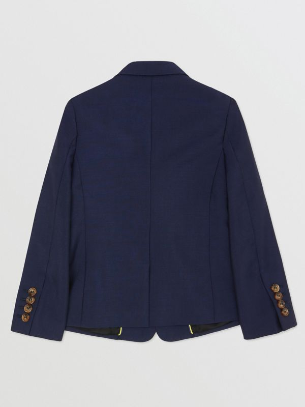 Logo Print Wool Mohair Blazer in Navy | Burberry - cell image 3