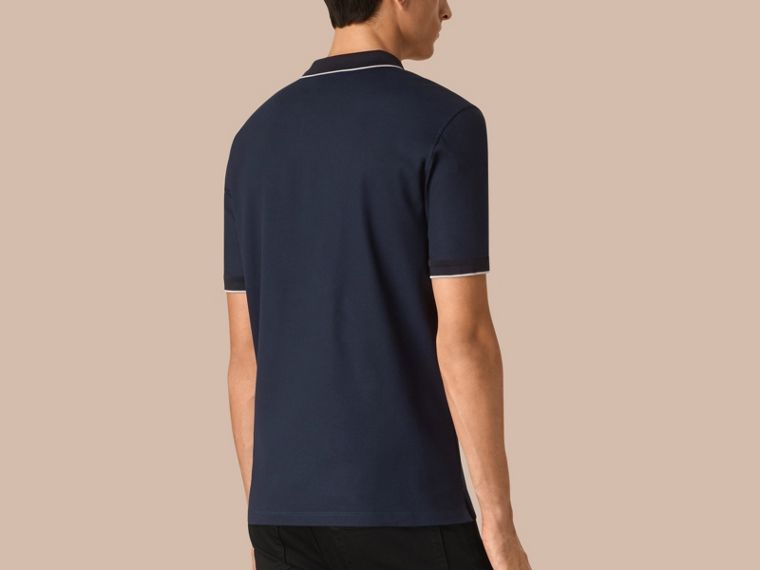 Navy/grey Contrast Tipping Cotton Piqué Polo Shirt Navy/grey - cell image 1