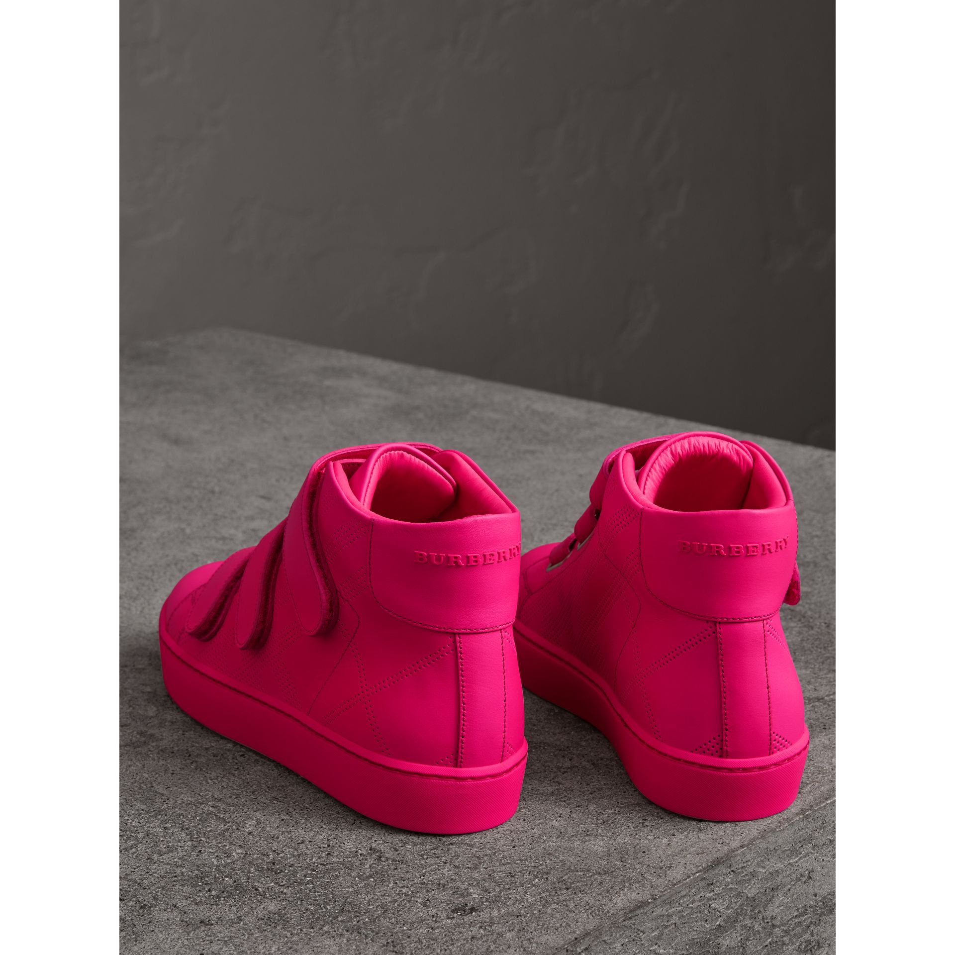 Perforated Check Leather High-top Trainers in Neon Pink - Women | Burberry - gallery image 2