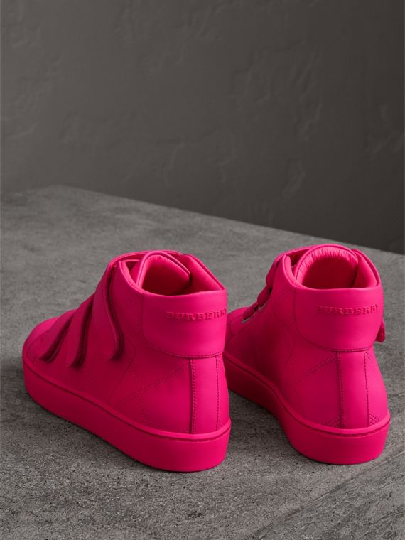Perforated Check Leather High-top Trainers in Neon Pink - Women | Burberry - cell image 2