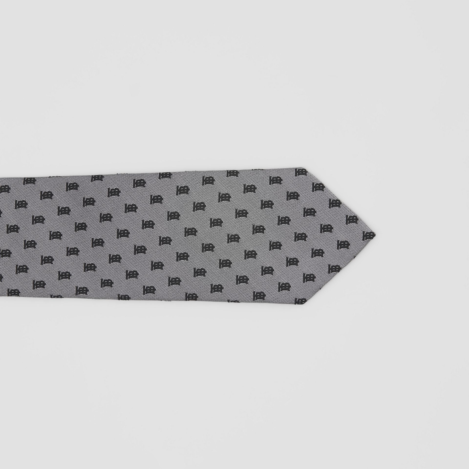 Classic Cut Monogram Silk Jacquard Tie in Mid Grey - Men | Burberry - gallery image 1