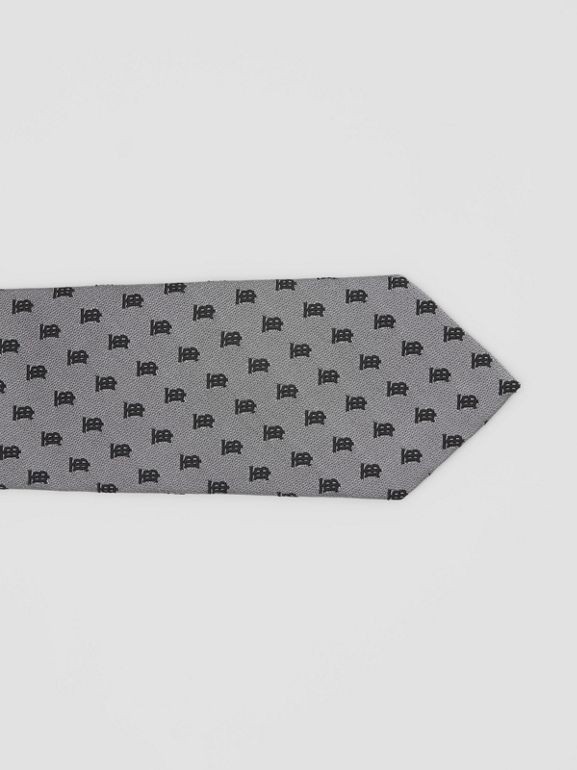 Classic Cut Monogram Silk Jacquard Tie in Mid Grey - Men | Burberry - cell image 1