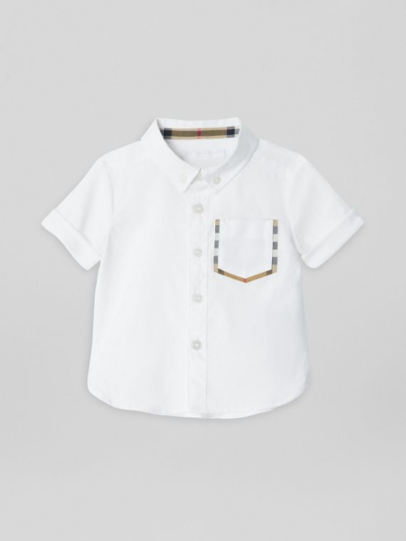 Short-sleeve Check Detail Cotton Oxford Shirt in White