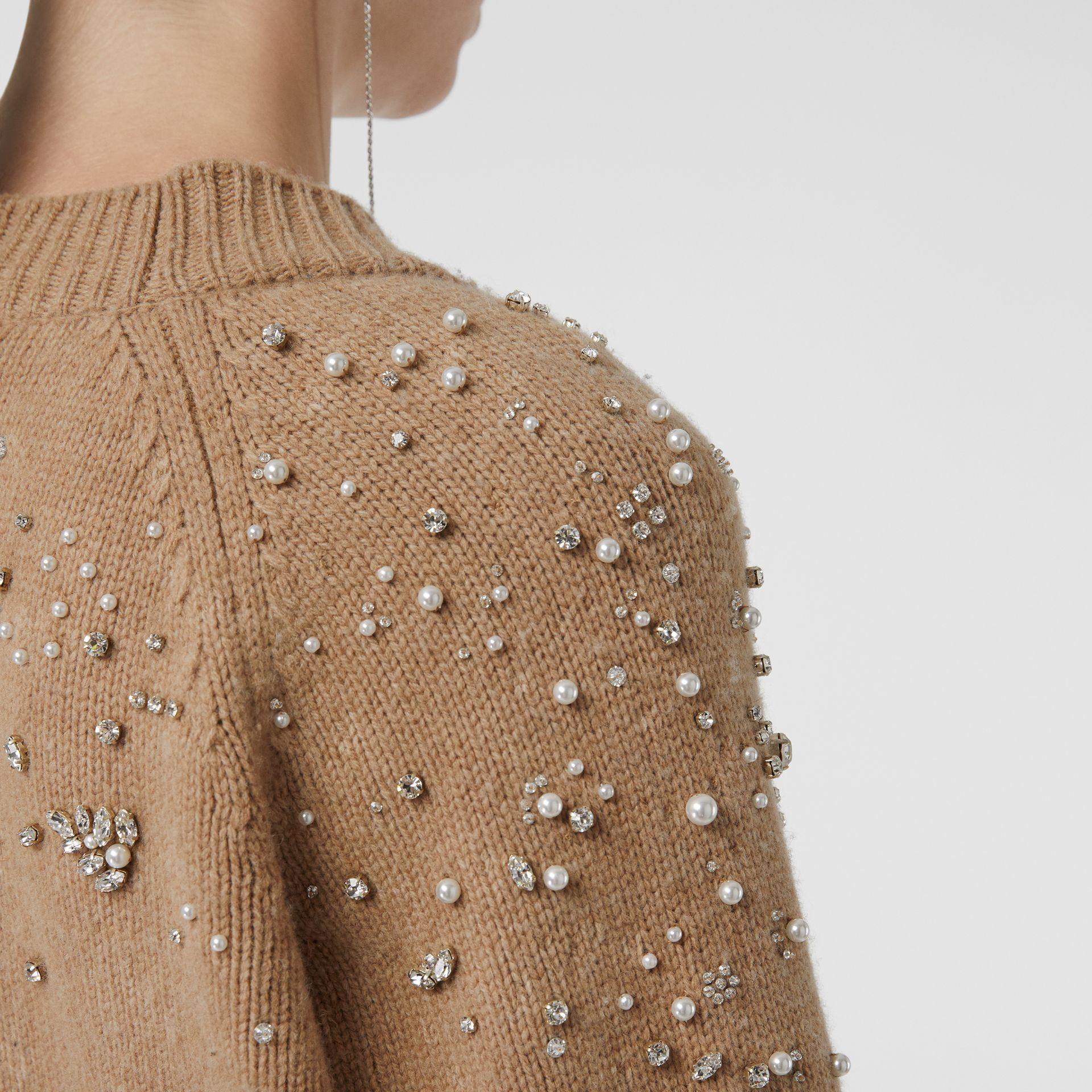 Crystal-embellished Merino Wool Cardigan in Camel - Women | Burberry - gallery image 1