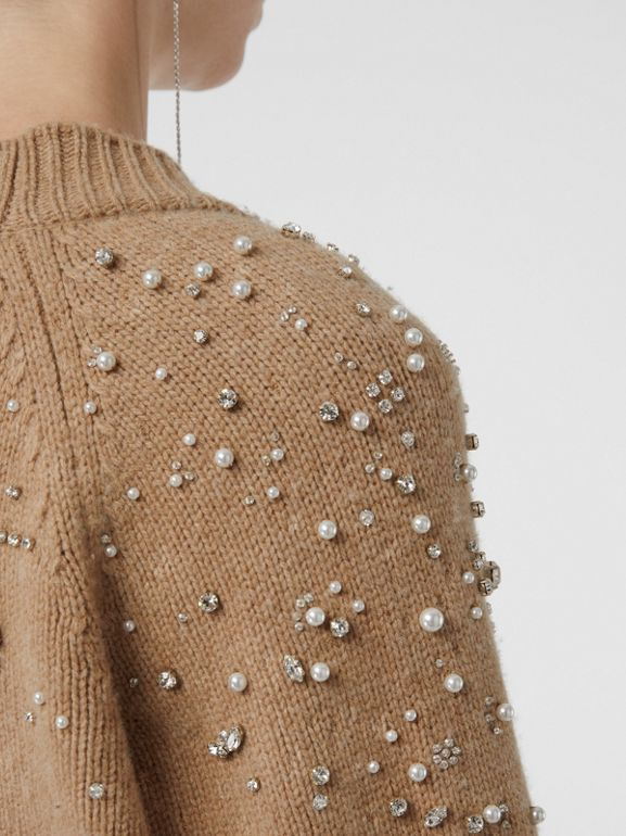 Crystal-embellished Merino Wool Cardigan in Camel - Women | Burberry - cell image 1