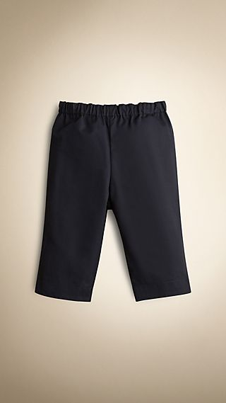 Check Turn-Up Cotton Trousers