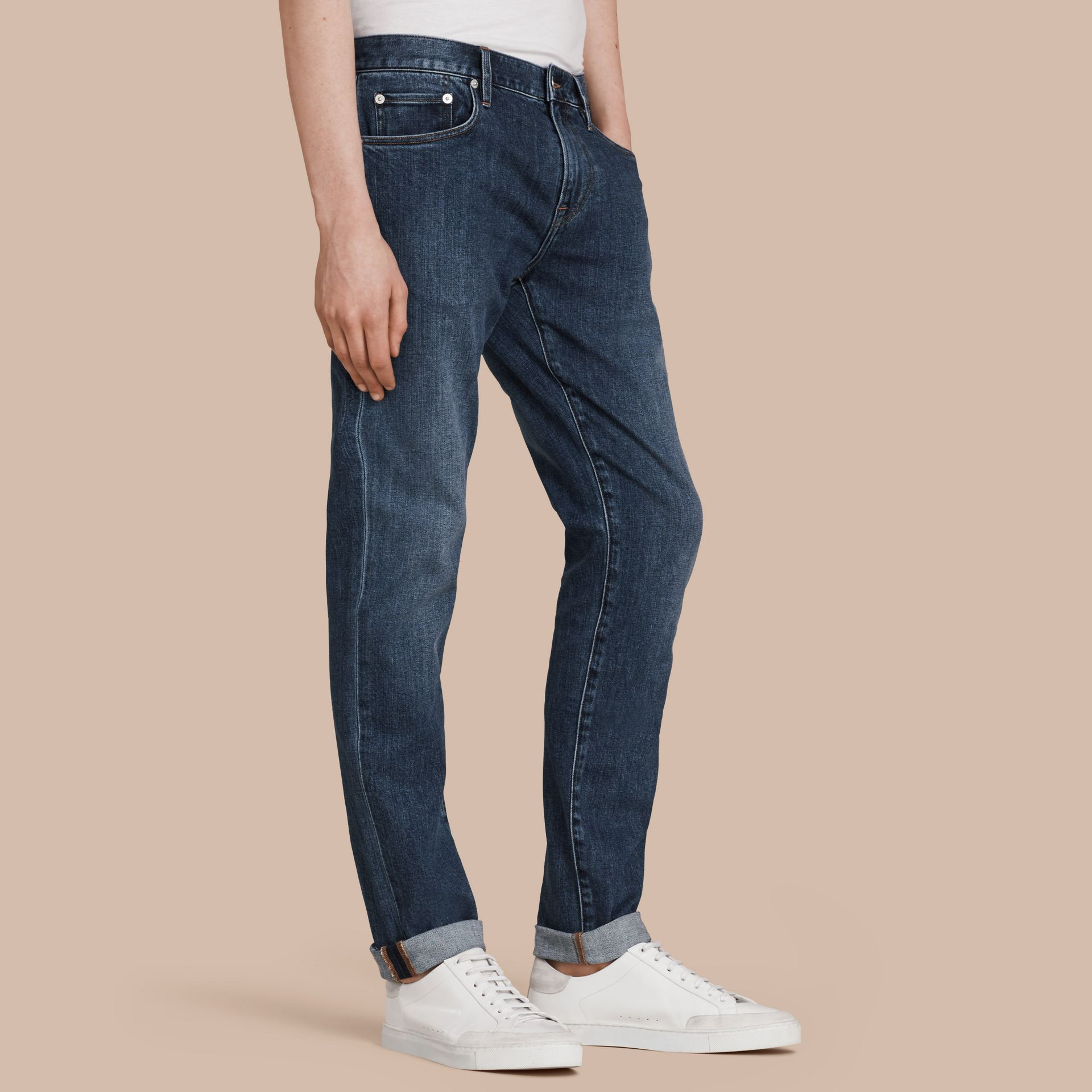 Mid indigo Slim Fit Japanese Denim Jeans - gallery image 1