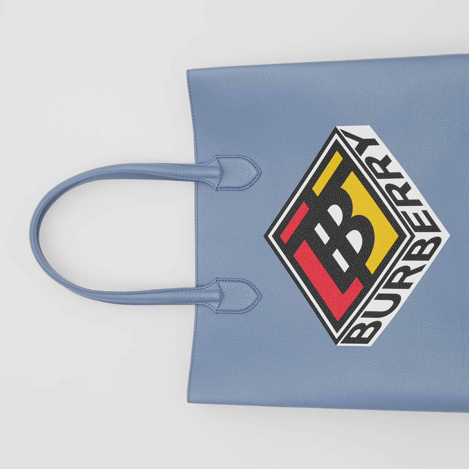 Large Logo Graphic Grainy Leather Tote in Baby Blue - Men | Burberry - gallery image 1