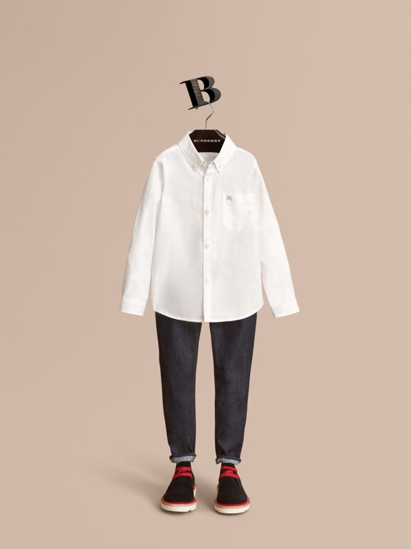 Cotton Button-down Collar Shirt in White - Boy | Burberry - cell image 2