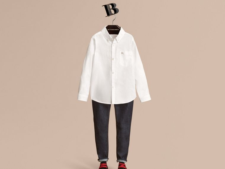 Camicia in cotone con colletto button-down (Bianco) - Bambino | Burberry - cell image 1