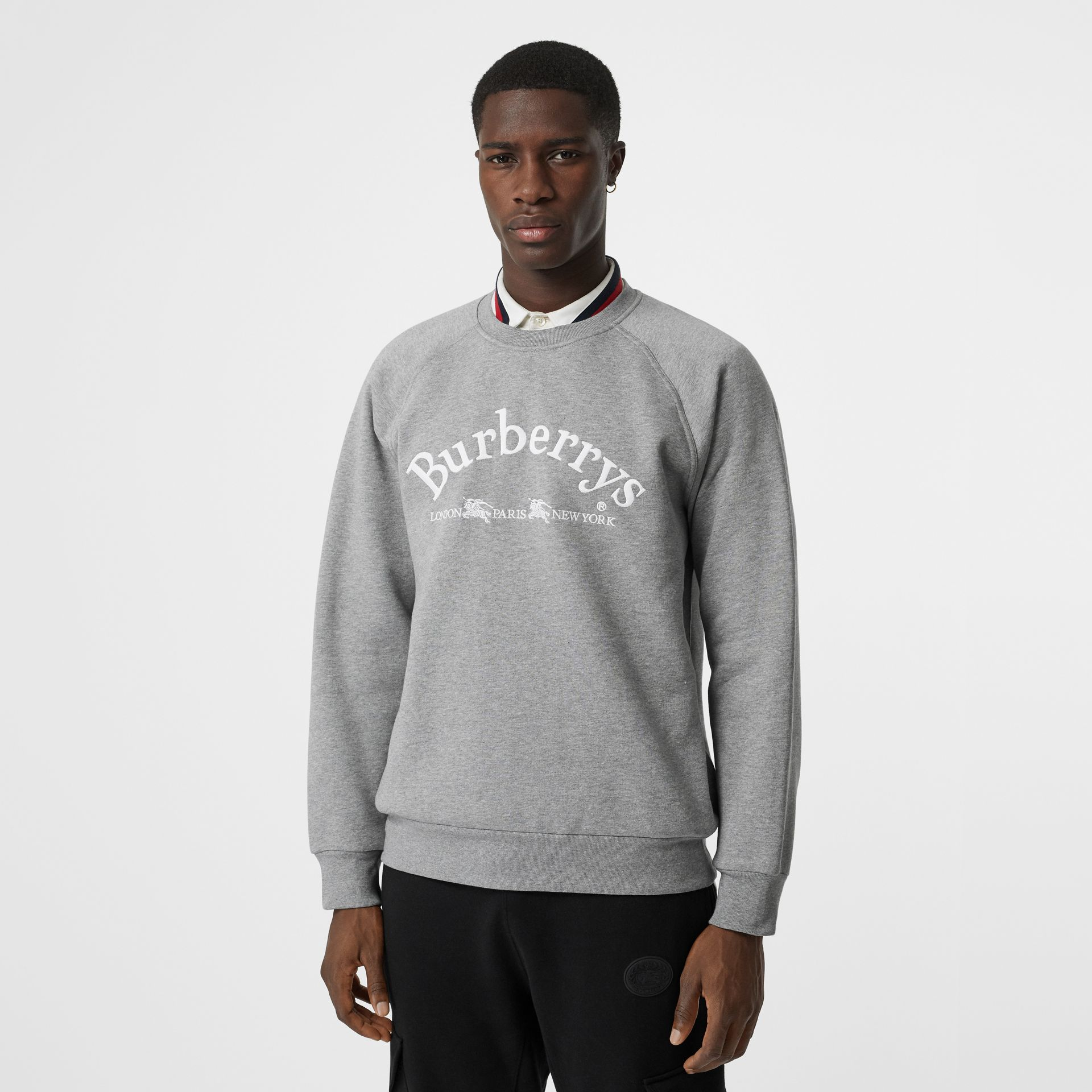 Embroidered Archive Logo Jersey Sweatshirt in Pale Grey Melange - Men | Burberry United Kingdom - gallery image 0