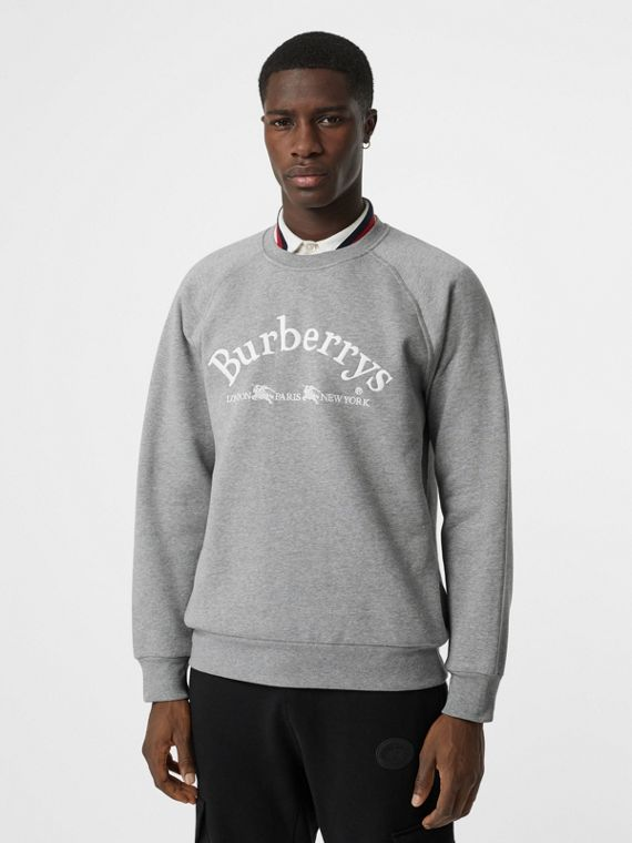 Embroidered Archive Logo Jersey Sweatshirt in Pale Grey Melange
