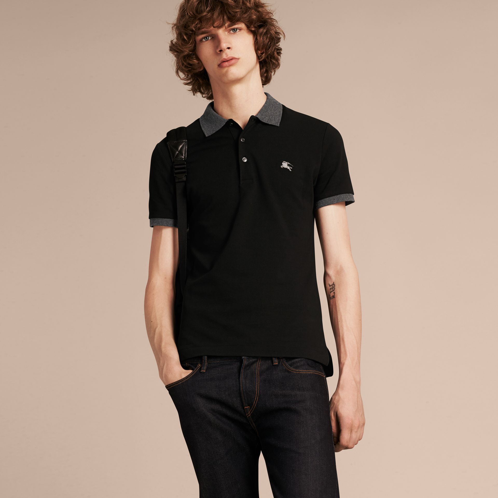 Black Contrast Colour Detail Cotton Piqué Polo Shirt Black - gallery image 6