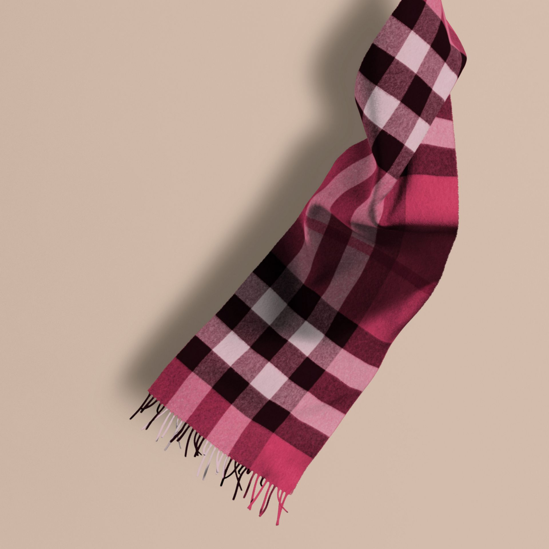 The Large Classic Cashmere Scarf in Check Fuchsia Pink - gallery image 1