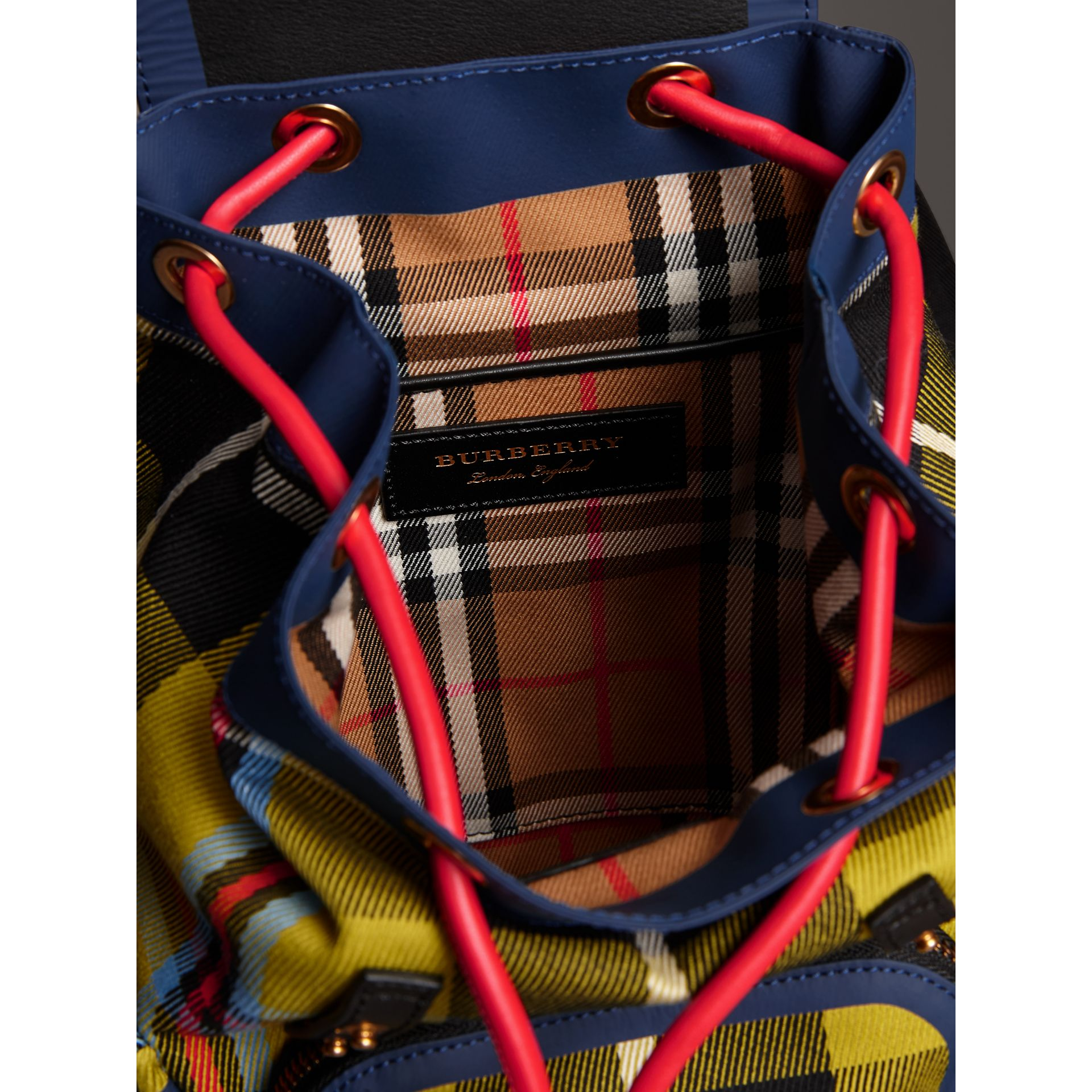 The Small Rucksack in Check Cotton and Leather in Flax Yellow - Women | Burberry United Kingdom - gallery image 5