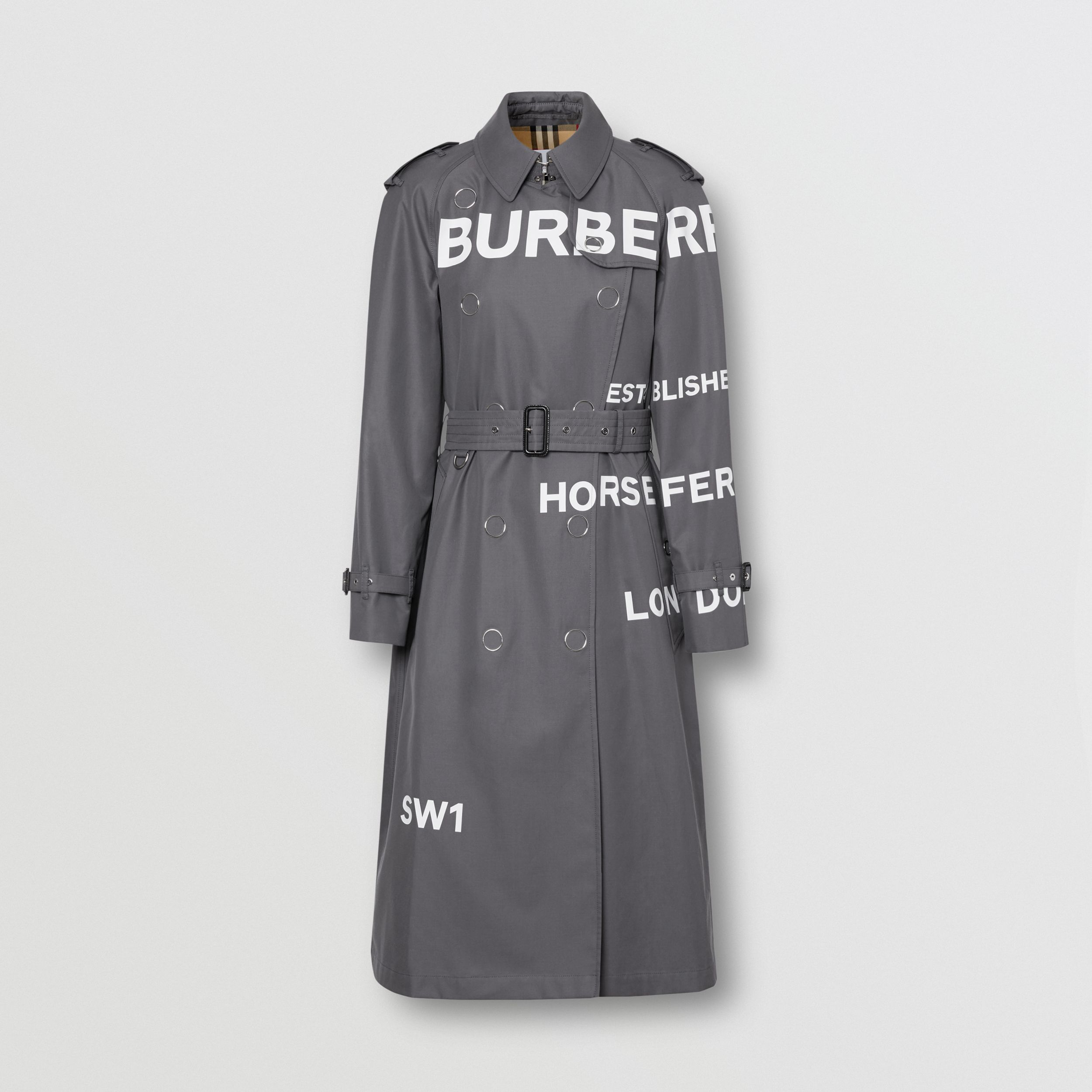 Horseferry Print Cotton Gabardine Trench Coat in Mid Grey - Women | Burberry United Kingdom - 4