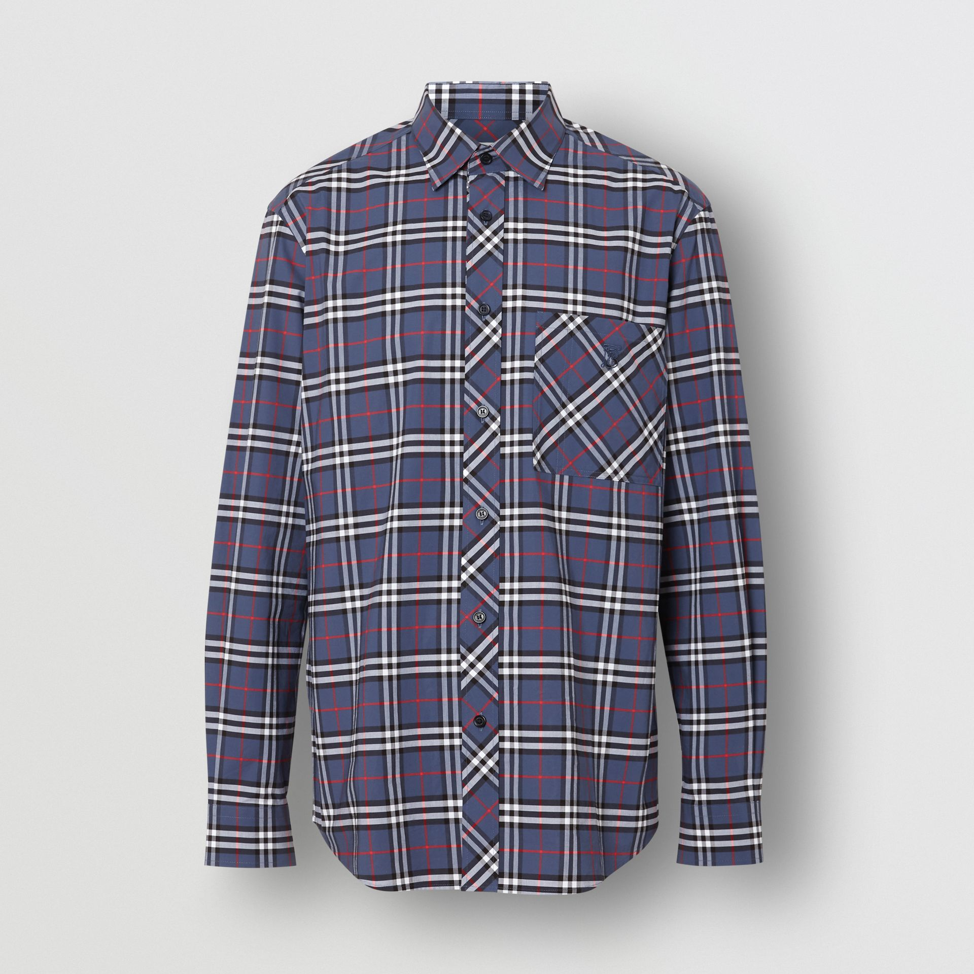 Small Scale Check Stretch Cotton Shirt in Carbon Blue - Men | Burberry - gallery image 3